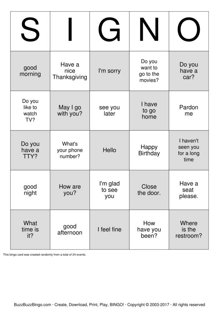 Deaf Bingo SIGN 0 Bingo Cards To Download Print And