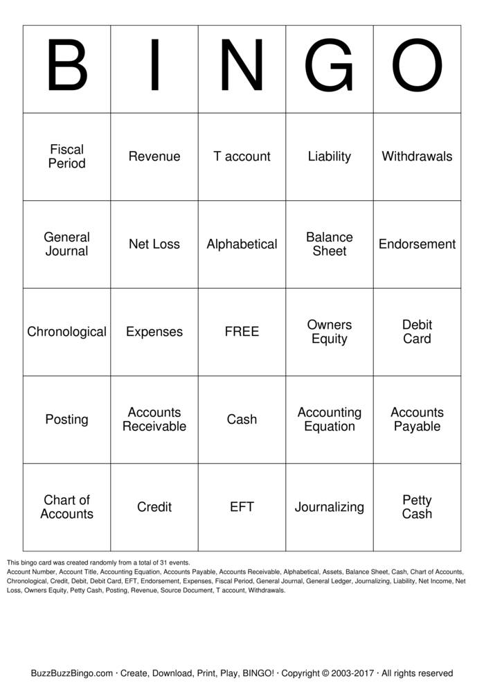 Accounting Bingo Cards To Download Print And Customize
