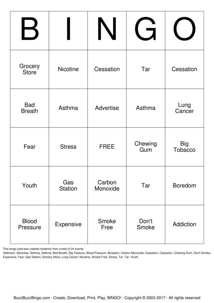 Smoking Cessation BINGO Bingo Cards to Download Print and