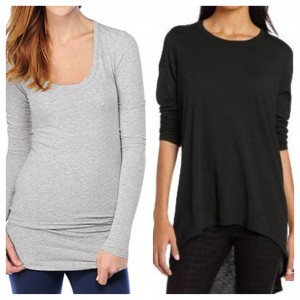 Two great long sleeve t's for layering: Splendid (left); Michael Stars (right)