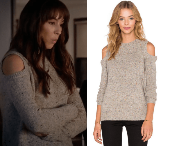 big-sweaters-7x08-spencers-marl-cold-shoulder-sweater