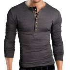 Sept Pishon-Mens-Henley-Shirt-Long-Sleeve-Slim-Fit-Plain-Button-Cotton-Casual-Shirts-Grey-tagsizeXXXLUSsizeL-0