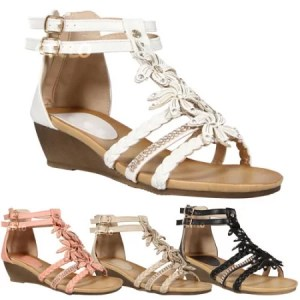 Summer Sandals With Low Heel Wedge Gladiator Beach Shoes