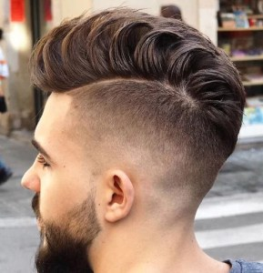 High Fade Hairstyle with Loose Pompadour
