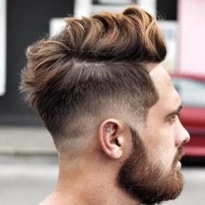 Long Messy Hairstyle with Low Fade