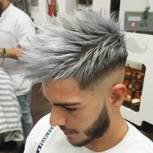 Shaved Sides Spiky Hairstyle with Grey Dye