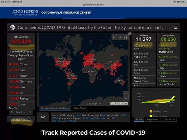 Coronavirus spread map screenshot infographic 9