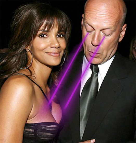 Bruce Willis masturbating Halle Berry's breasts