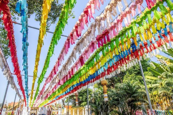 colorful decorations in Lamphun   Buzzy Bee Bike, Chiang Mai, Thailand