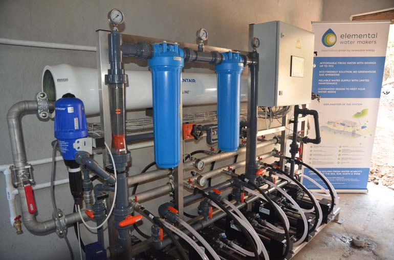 The desalination system producing 3300 gallons per day on Great Camanoe