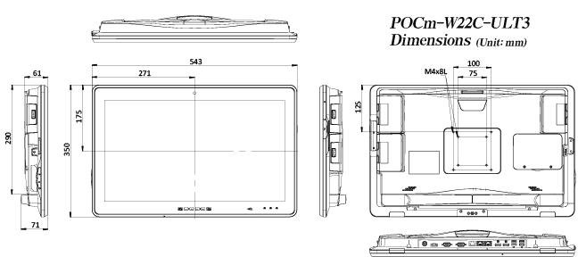 POCm W22C ULT3 Dimensions
