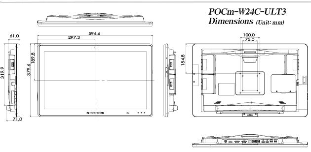 POCm W24C ULT3 Dimensions