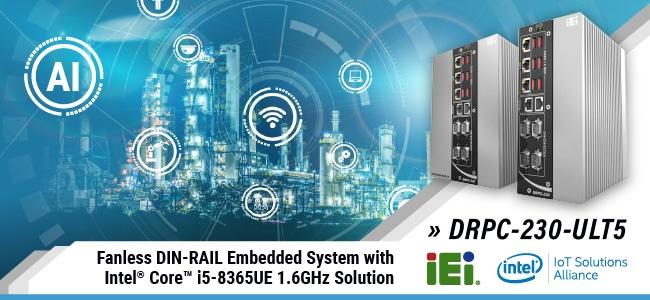 New Fanless DIN Rail Embedded System banner - DRPC-230-ULT5