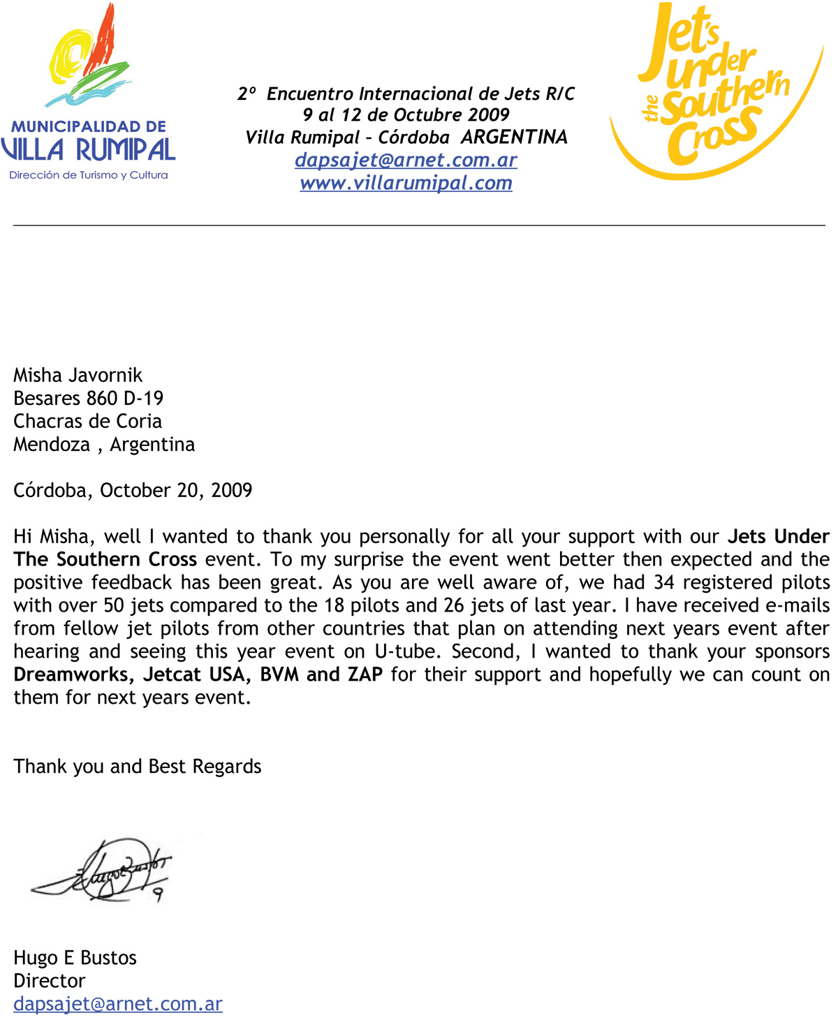 Sample Thank You Letter After Attending Event