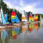 Sailboats along shoreline