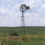 Old windmill in a field