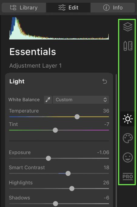 improved edit module in Luminar 4
