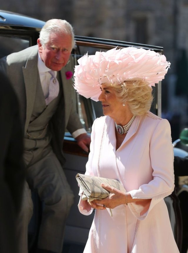 Camilla in pale pink hat for royal wedding