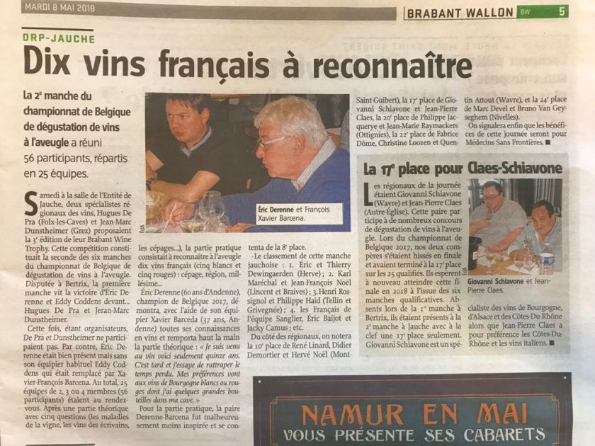 Article de presse - Vers l'Avenir 8 Mai 2018 - Brabant Wine Trophy 2018
