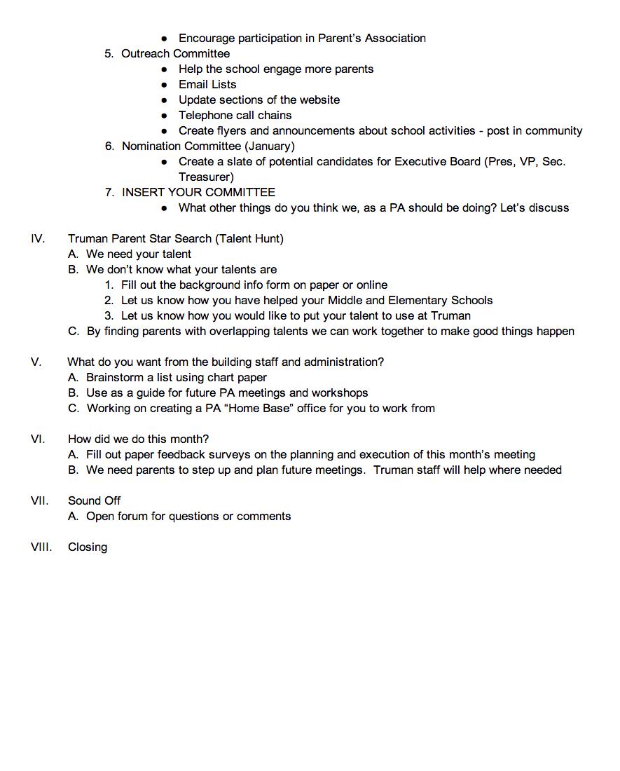 October Parent's Association Meeting Agenda – Harry S