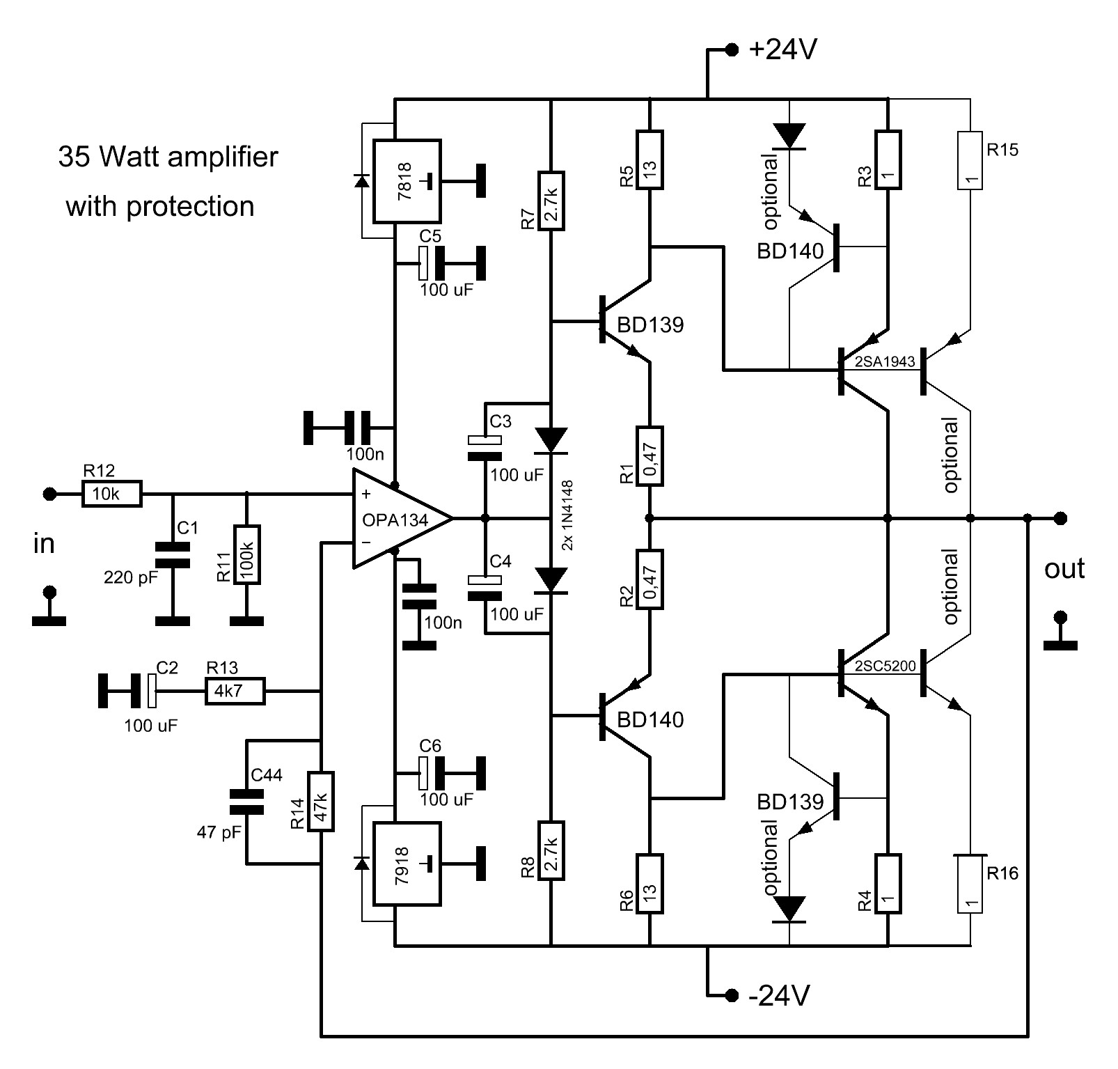 hight resolution of 2sc5200 2sa1943 amplifier circuit the main diagram 2sc5200 2sa1943 amplifier circuit