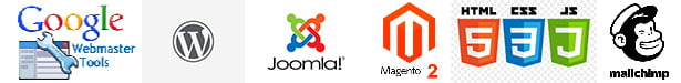 google tools, wordpess, joomla, magento2, html,css,mailchimp