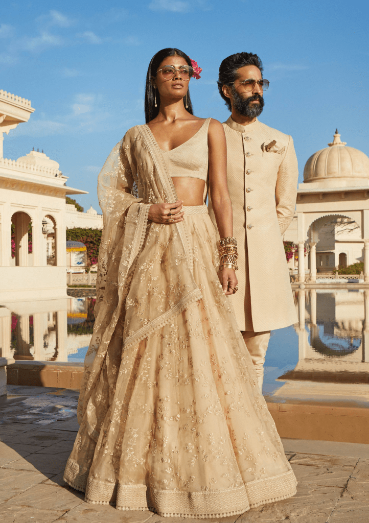 Sabyasachi beige embroidered lehenga. sabyasachi prices quote