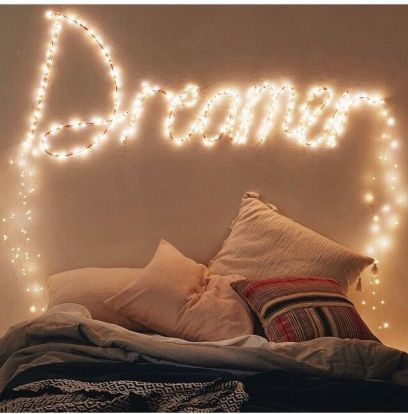 dreamer lettering with fairy lights
