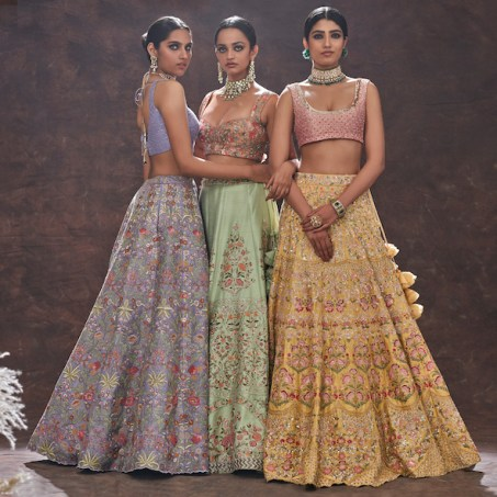 Shyamal & Bhumika's Rhapsody of Spring collection, filled with colorful lehengas and pieces perfect for a summer time event.