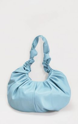prettylittlething ruched bag in baby blue $26