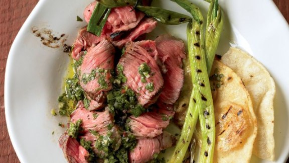 easy quick dinner recipes - grilled flank steak and chimichurri