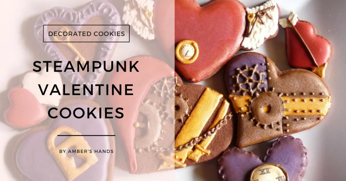 Steampunk Valentine Cookies -by amber's hands-