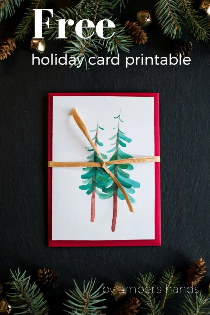 Free Printable Holiday Card -by amber's hands-