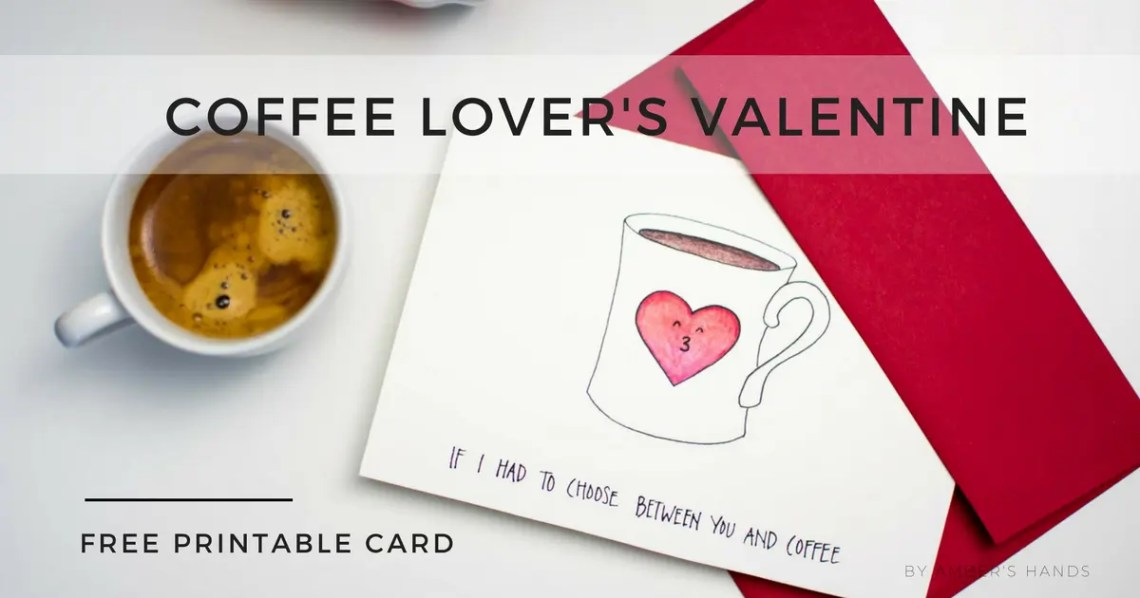 Free Printable Valentine Card -by amber's hands-