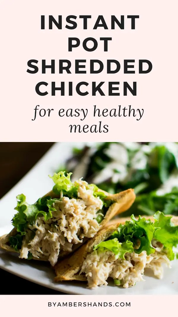 This shredded chicken can be made straight from frozen chicken with only ten minutes in the instant pot! #easy #quick #weeknight #dinner #keto #lowcarb