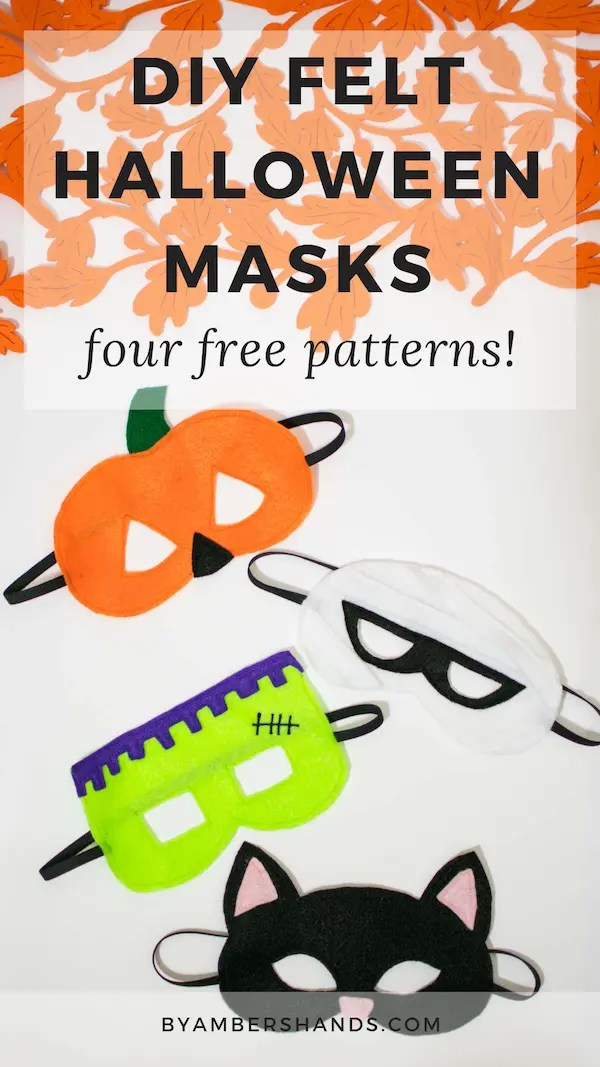 Create these kids masks with free printable patterns! #diy #halloween #masks #felt #sewing