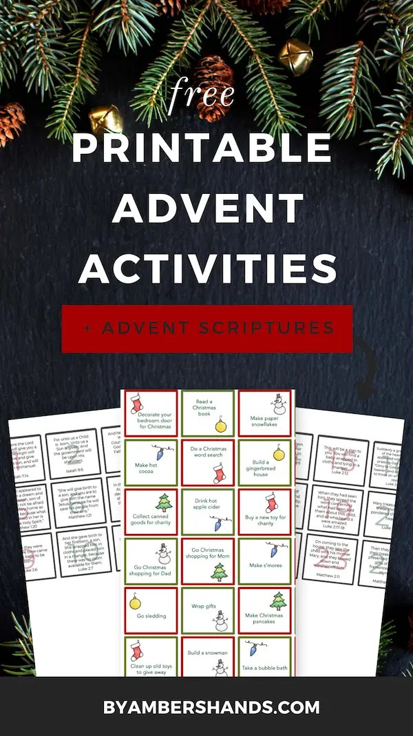 Get free downloads of daily advent activities and scripture reading for your advent calendar! #advent #calendar #free #printables