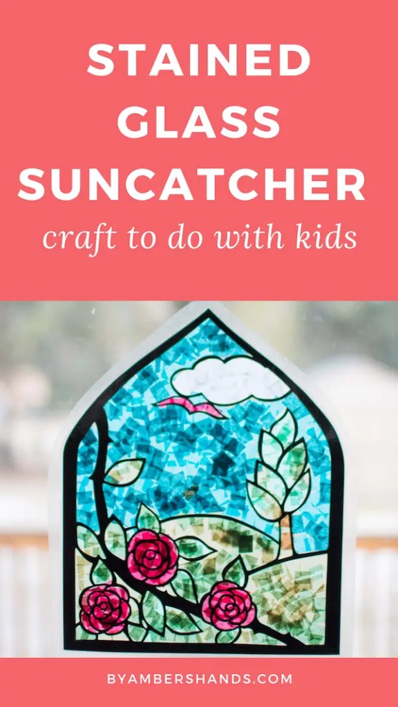 Brighten up these dreary winter day with this stained glass suncatcher you can make with your kids! #kids #craft #stainedglass #suncatcher #tissuepaper #silhouette #art