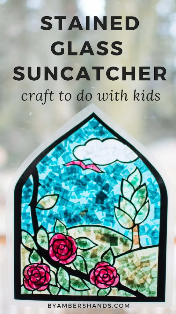 Make this stained glass suncatcher with your kids! Brighten up the dreary winter with a colorful craft to hang in your window! #craft #kids #stainedglass #suncatcher #tissuepaper #silhouette #art