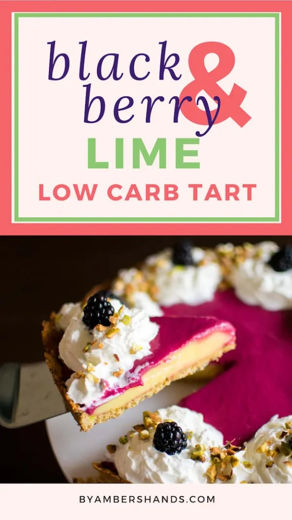 This Keto Blackberry and Lime Spring Tart is perfect for any springtime celebration! It pairs a crunchy pistachio crust with a lime and blackberry curd filling for an exquisite dessert that's both beautiful and delicious!  #lowcarb #keto #easter #mothersday #spring #tart #glutenfree #grainfree #atkins #blackberry #lime