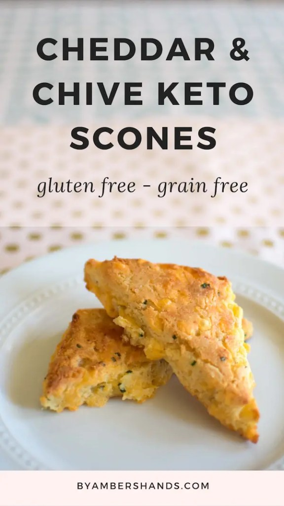 These savory Cheddar & Chive Keto Scones are so easy but are made to impress! Perfect brunch side, ready in 30 minutes! #keto #lowcarb #scones #cheese #cheddar #chive #glutenfree #grainfree #atkins