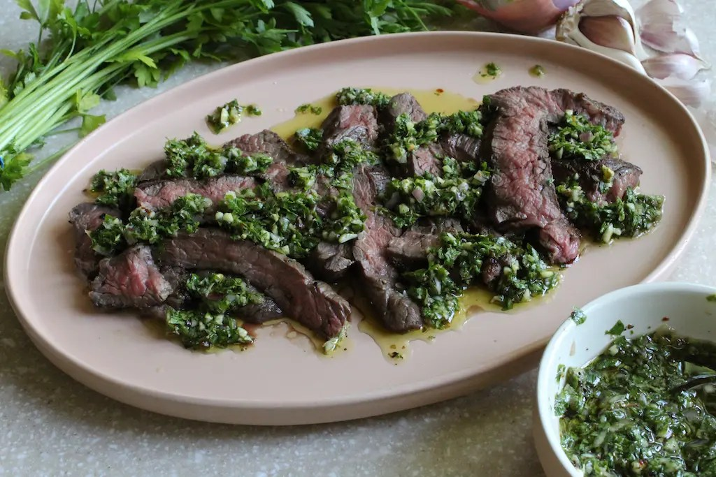 Grilled Skirt Steak With Chimichurri -by amber's hands-