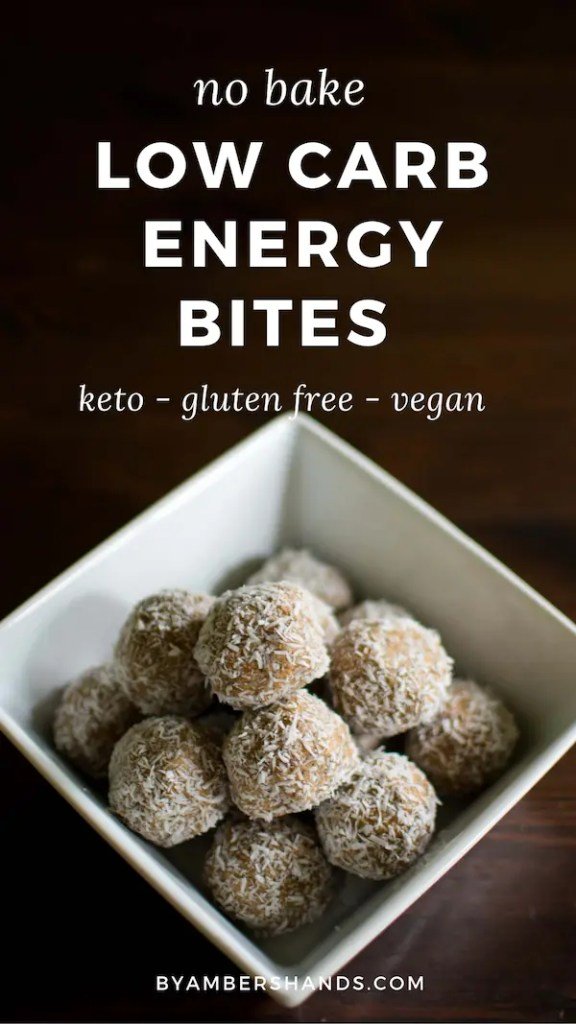 No bake energy bites are so easy to make and keep in your fridge for when you need a low carb snack right away! 1 g net carb per bite! #keto #lowcarb #energybites #glutenfree #dairyfree #vegan #grainfree #snacks