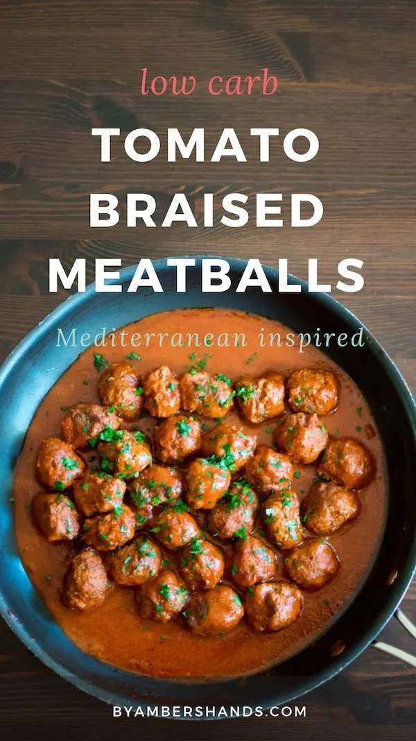 These low carb tomato braised meatballs are full of delicious spices and come together in just 35 minutes with almost no work at all! #lowcarb #keto #dinner #meatballs #tomato #cinnamon #glutenfree #grainfree