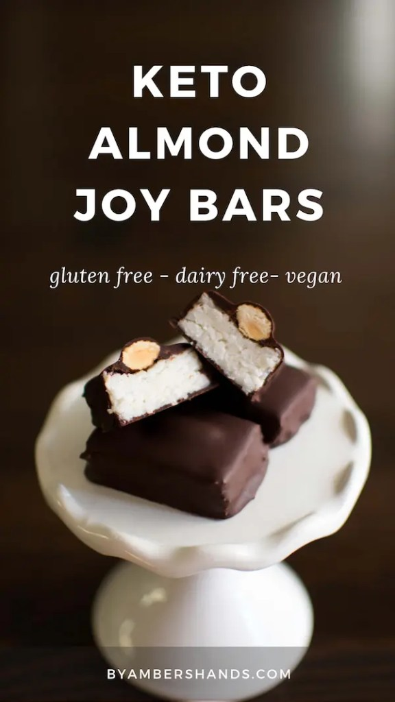 Low carb almond joy bars are incredibly easy to make and are only 2.5 net carbs! You can have candy bars on a keto diet! #keto #lowcarb #glutenfree #dairyfree #vegan #grainfree #chocolate #almond #coconut #almondjoy