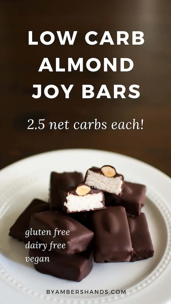 Super easy keto almond joy bars are a dairy-free, low carb dream! Only 2.5 net carbs of pure decadence! #keto #lowcarb #glutenfree #dairyfree #vegan #grainfree #chocolate #almond #coconut #almondjoy