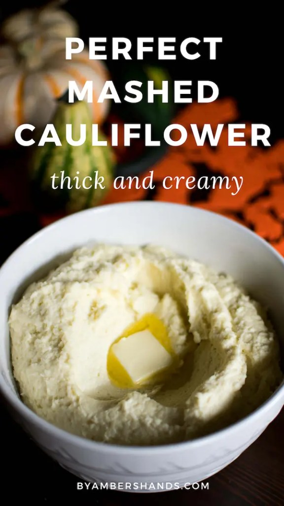 The perfect mashed cauliflower to put on your holiday table. This side dish is thick and velvety and is the stuff of low carb dreams! #mashedcauliflower #keto #lowcarb #sides #glutenfree #thanksgiving #christmas #holidays