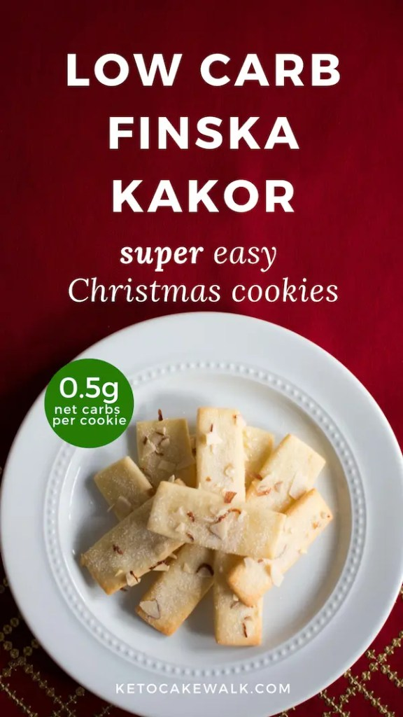 These low carb Christmas cookies are super delicious and easy! Finska kakor is a light and flaky almond shortbread that is sure to please! #lowcarb #keto #baking #christmascookies #almond #shortbread #easy #glutenfree #grainfree