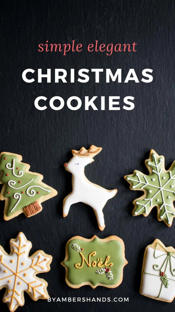 Gorgeous sugar cookies don't have to be complicated! These simple elegant Christmas cookies are easy to make and look lovely. #christmas #cookies #sugarcookies #royalicing #decoratedcookies #snowflakes #present #christmastree #reindeer #noel
