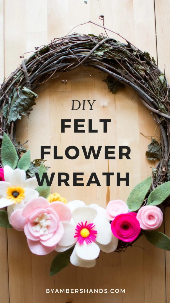 Create this felt flower wreath with no sewing skills. It's so much easier than it looks! Brighten up your space in one day! #wreath #felt #flowers #spring #decor #homedecor #DIY #interior #newsew #fabric #projects